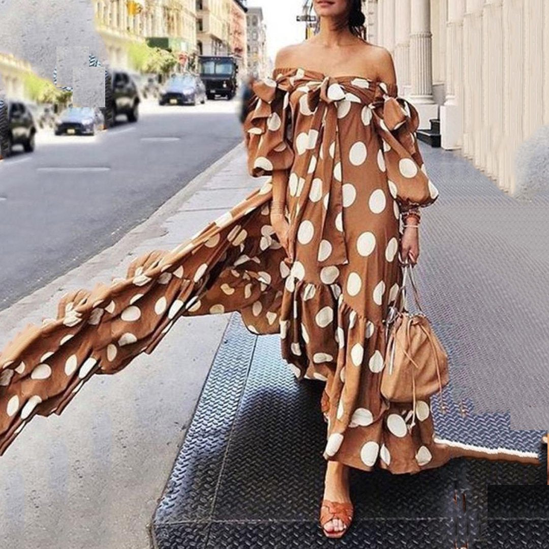 Fashion Off The Shoulder Point Print Maxi Dress