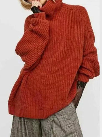 Solid Half-High Collar Pullover Long-Sleeved Sweater