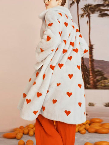 Casual Love Heart Pattern Long Coat