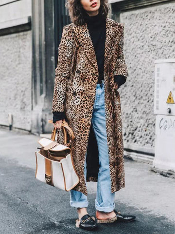 Women's Fashion Leopard Printed Long Coat