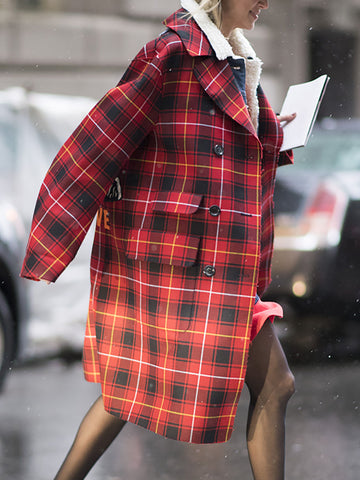 Fashion Plaid Double Breasted Pockets Coat