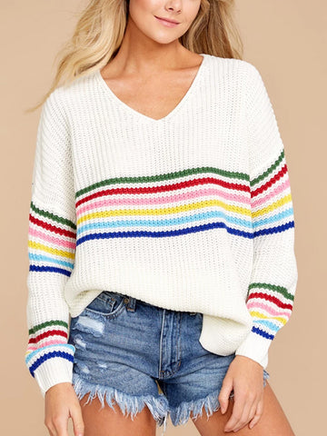Casual striped rainbow V-neck knit sweater