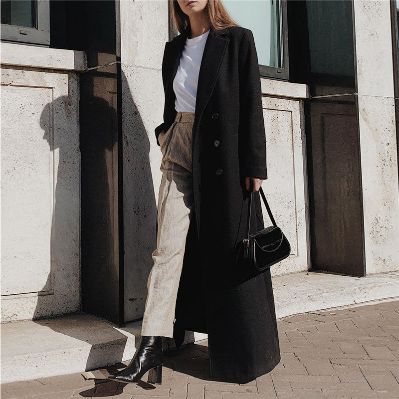 Fashion women's solid color long coat