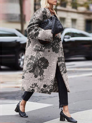 Commuting Pocket Floral Pattern Loose Long Overcoat