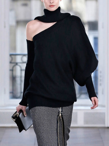Fashion Design Solid Colour Loose Sweater