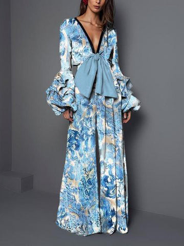 Sexy V Collar   Long-Sleeved Print Jumpsuits