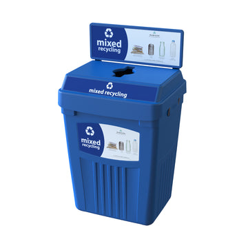 Blue Flex E® Recycling Bin with Backboard and Base Label