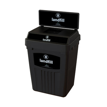 Black Flex E® Waste Bin with Backboard and Base Label