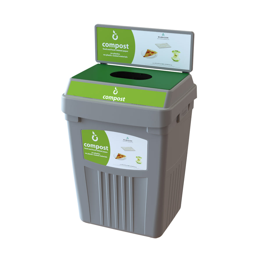 Grey Flex E® Compost Bin with Backboard and Base Label