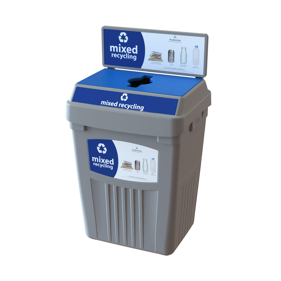 Grey Flex E® Recycling Bin with Backboard and Base Label