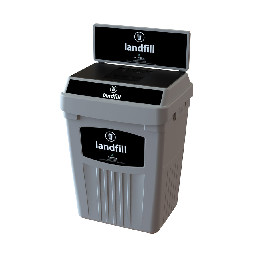 Grey Flex E® Waste Bin with Backboard and Base Label