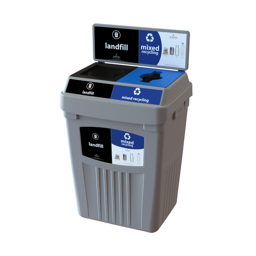 Grey Flex E® Waste & Recycling Bin with Backboard and Base Label