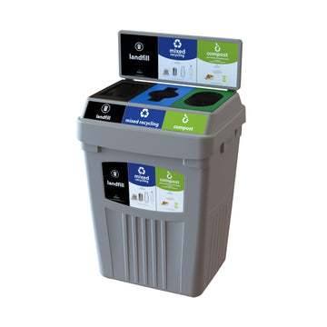 Grey Flex E® Waste, Recycling & Compost Bin with Backboard and Base Label