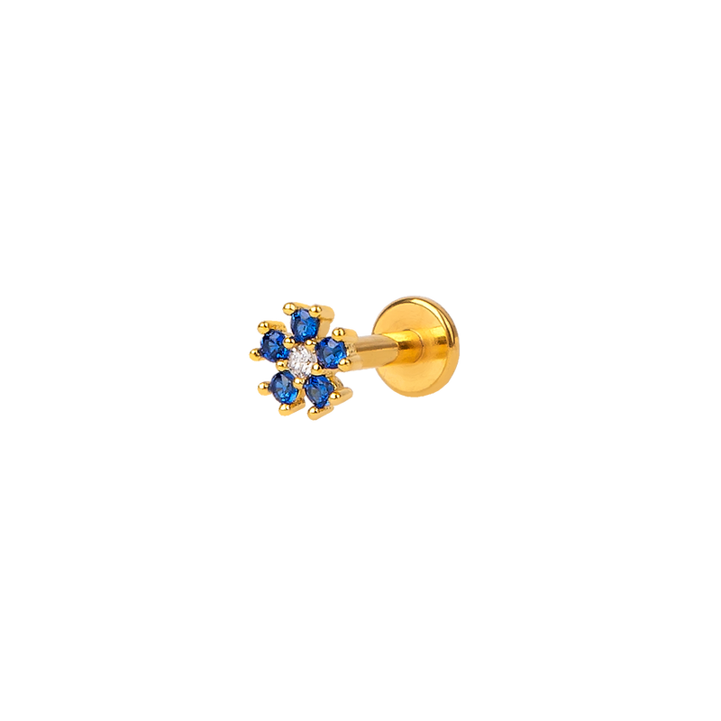 BLUE FLORAL GOLD PIERCING