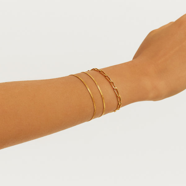 THIN HERRINGBONE GOLD BRACELET