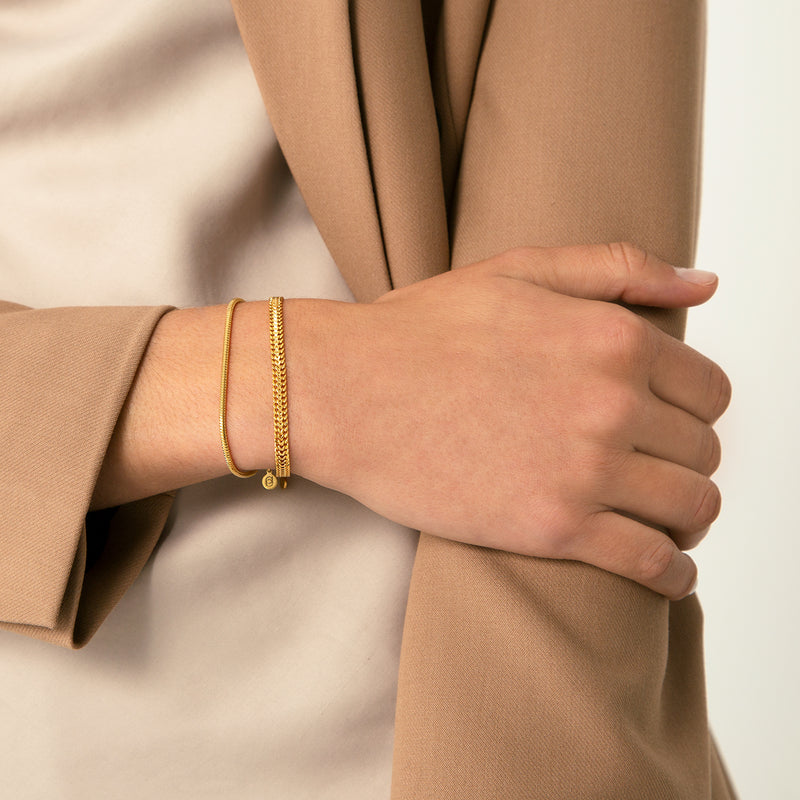 DOUBLE CURB GOLD BRACELET