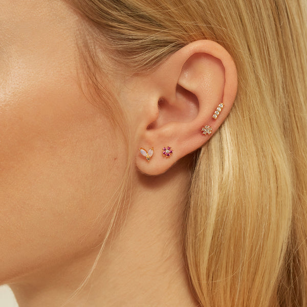 WHITE FLORAL GOLD PIERCING