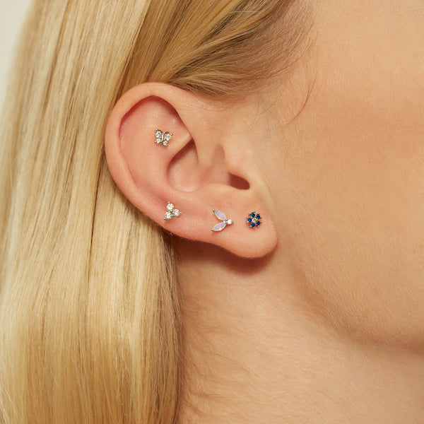 WHITE FLORAL SILVER PIERCING
