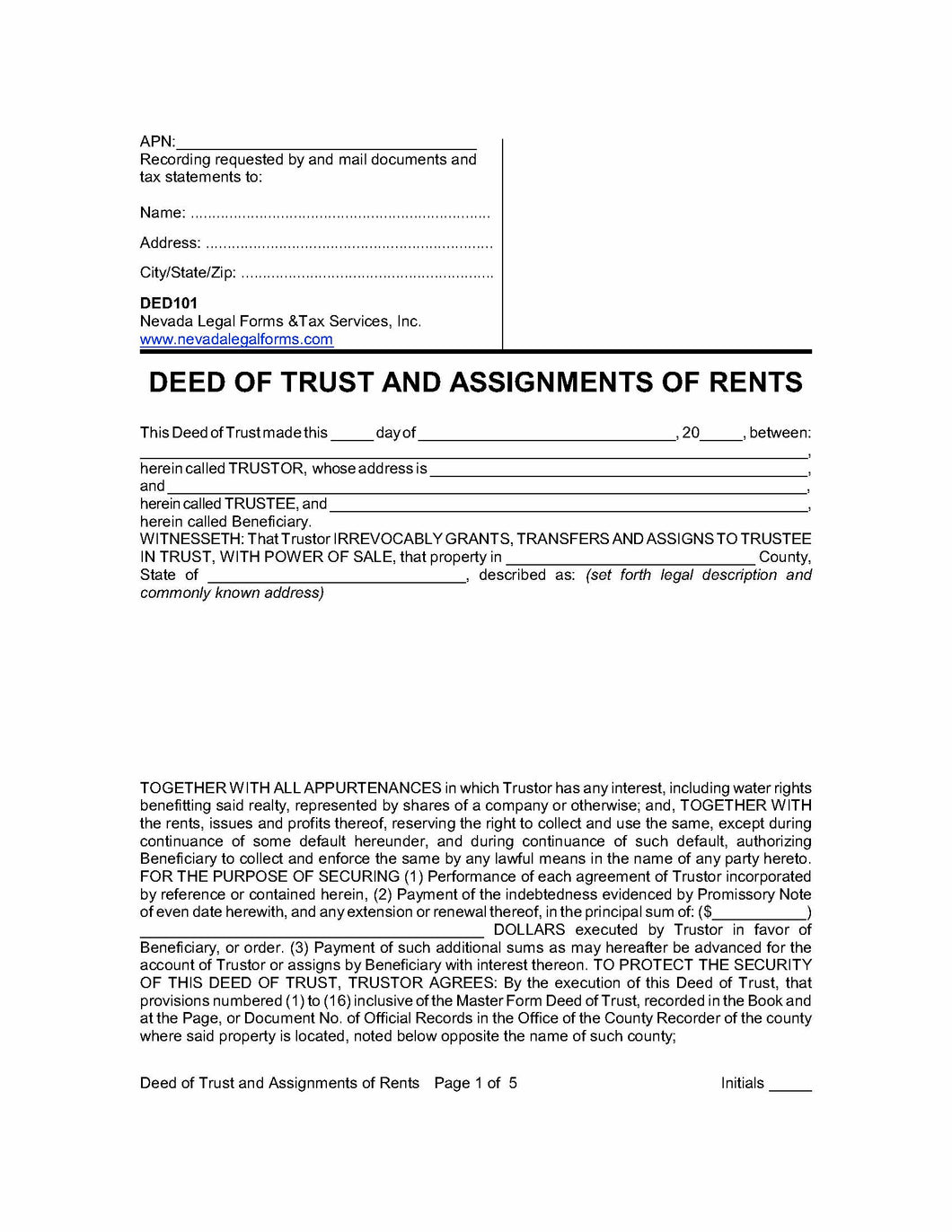 Deed of Trust and Assignments of Rents