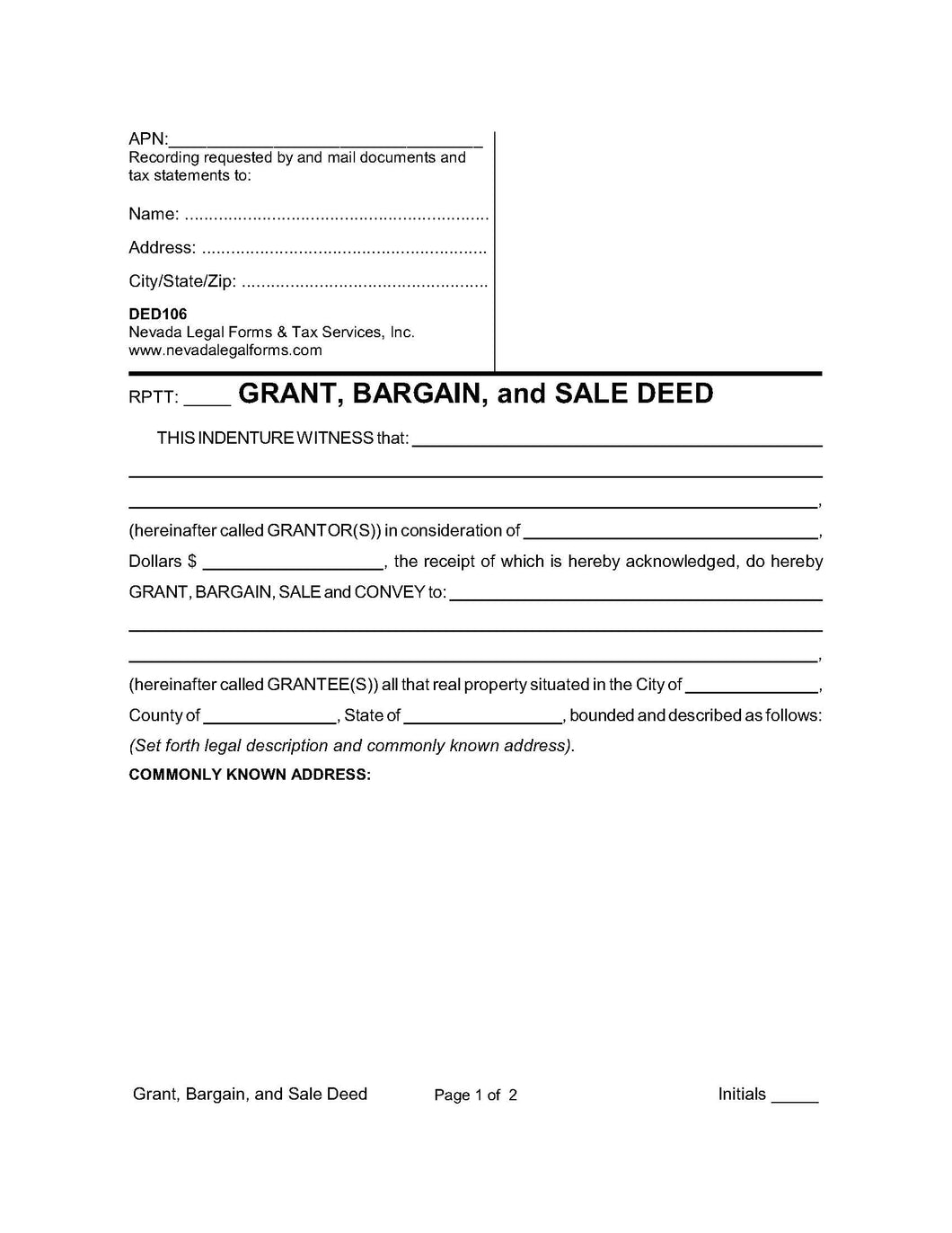 Grant, Bargain, and Sale Deed