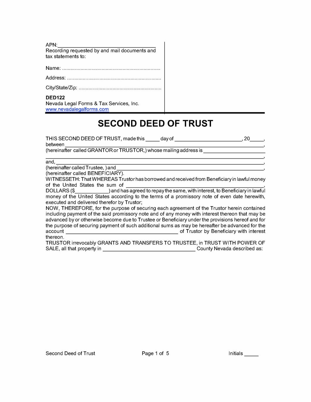 Deed of Trust with Promissory Note - Kit