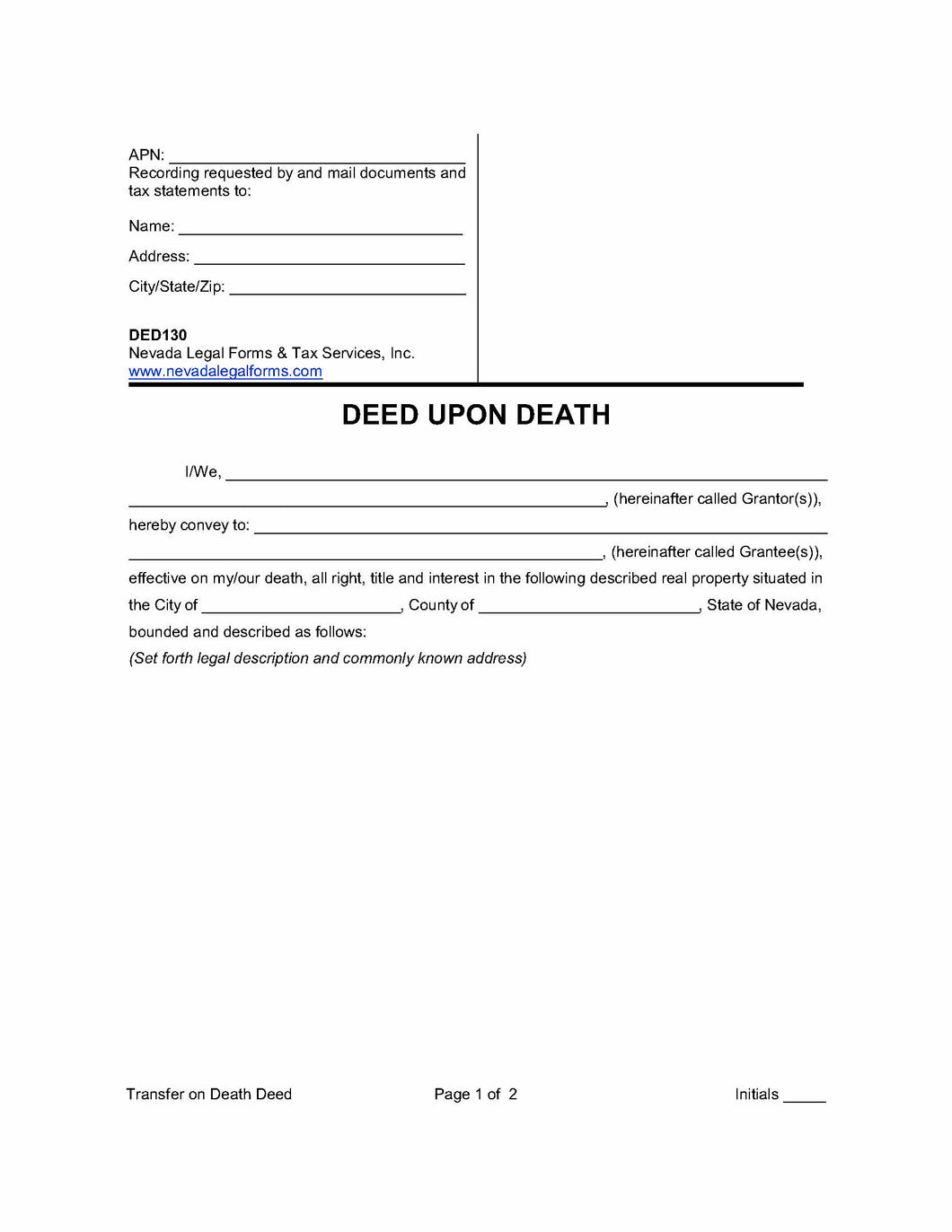 Deed Upon Death