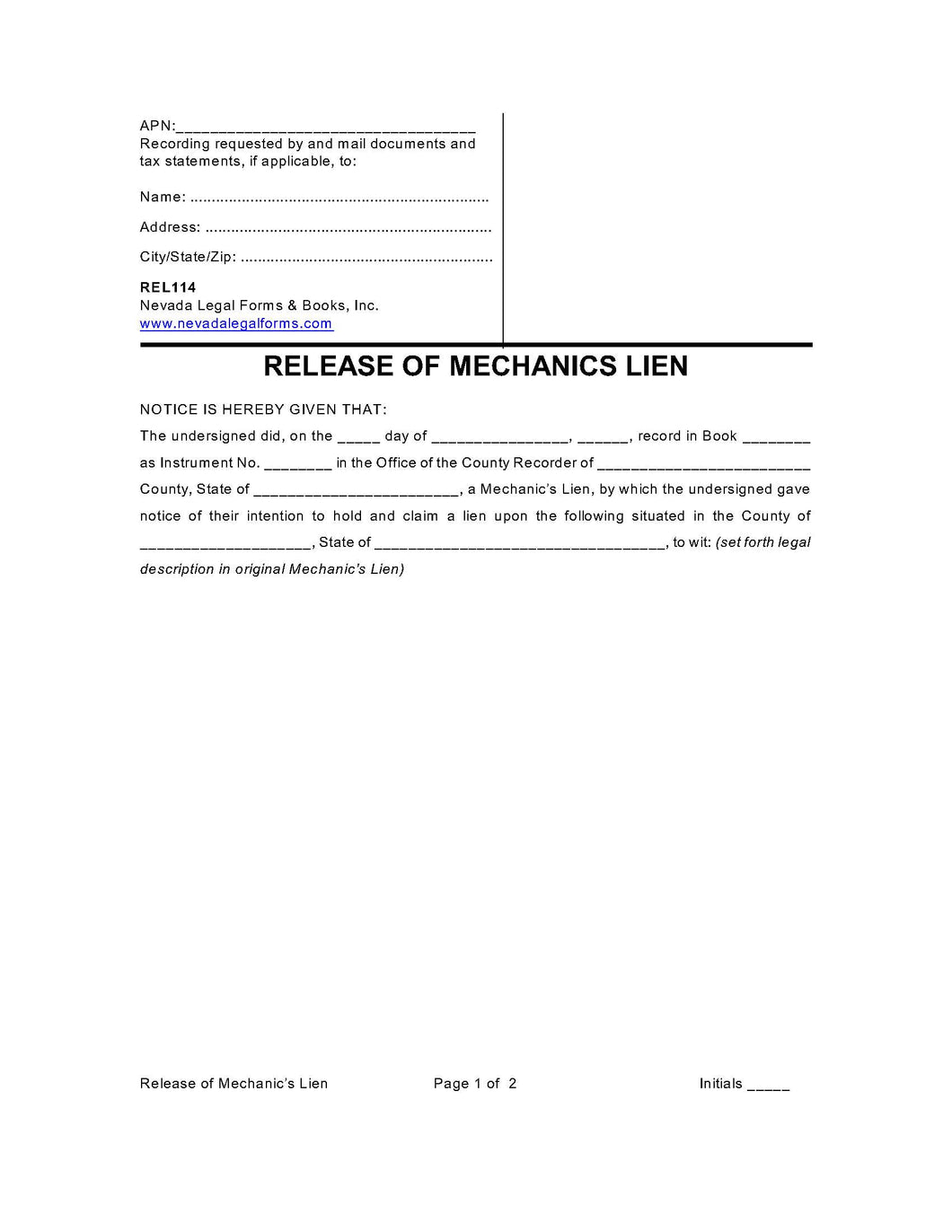 Release of Mechanic's Lien