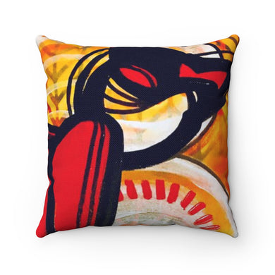 Spun Polyester Square Pillow Cat Lady