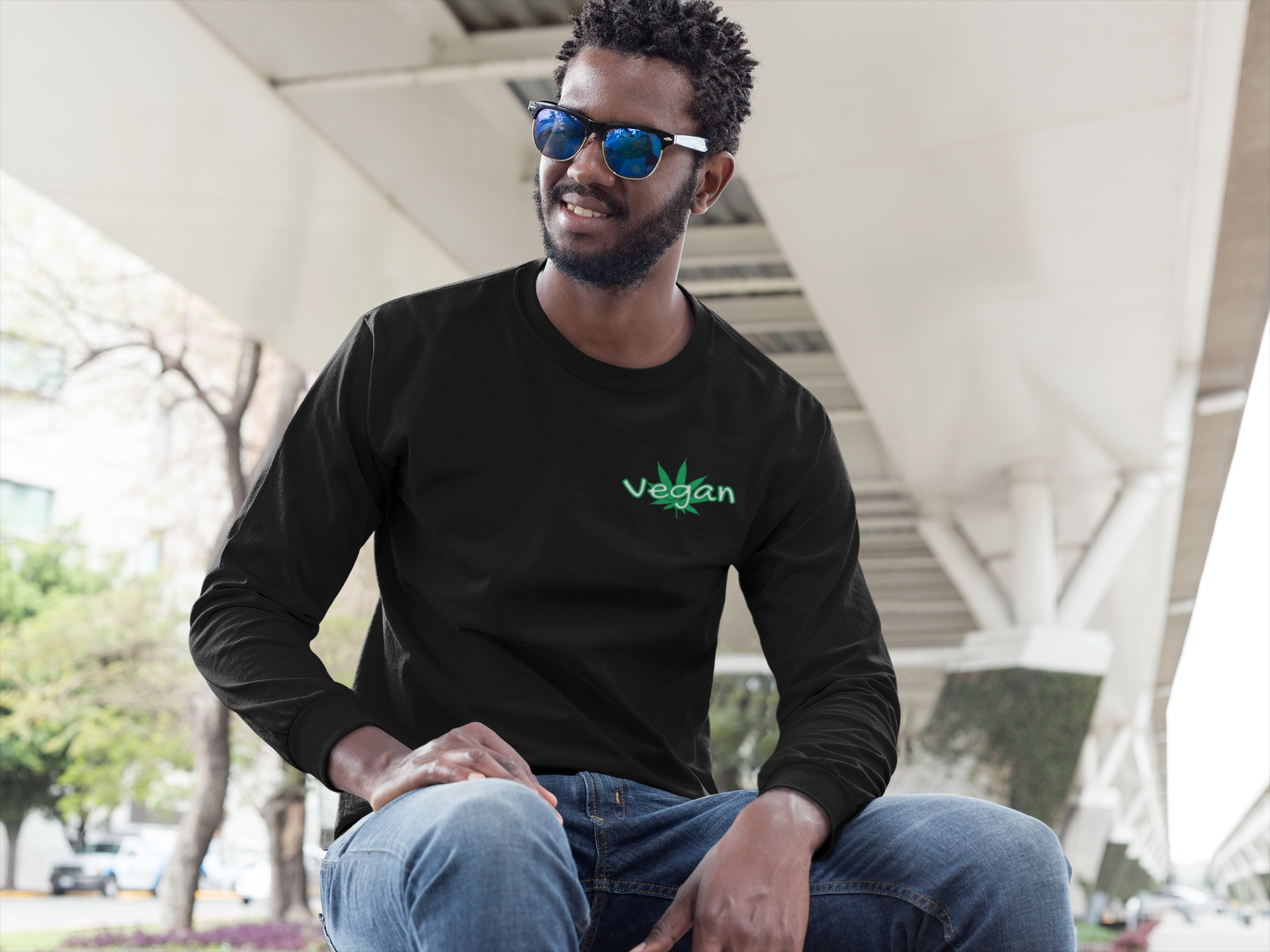 Men's Long Sleeve Vegan black 420