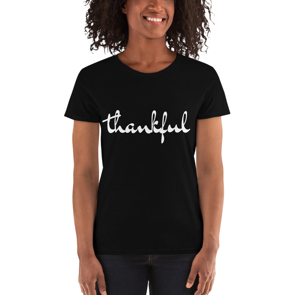 T-shirt thankful tailliert black