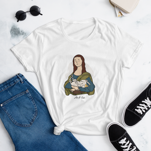 "T-shirt Mona Lisa with cat "" Art & Cats"""