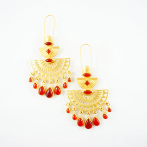 """Ambika"" Red Onyx Earrings (Sample Piece)"