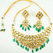 "Load image into Gallery viewer, ""Azara"" Necklace and Earring Set - Green Onyx"