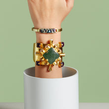 "Load image into Gallery viewer, ""Cherrie"" Cuff - Green Onyx, Amethyst, Pearl and Rose Quartz"