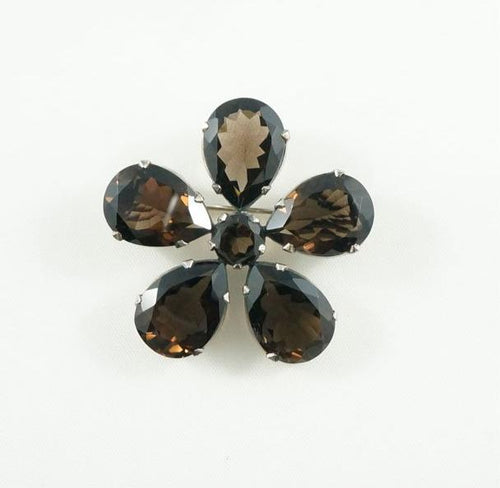 Flower Brooch- Smoky Quartz