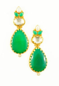 """Josephina"" Green Chalcedony Earrings"