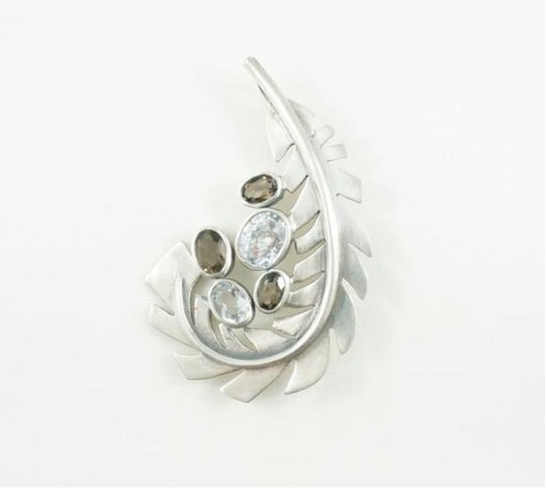 Leaf Brooch-Pendant Combo- Smoky & Colourless Quartz