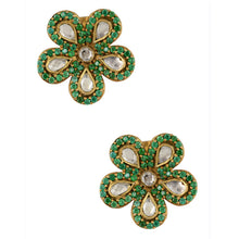 "Load image into Gallery viewer, ""Monika"" Green Flowers Earrings"