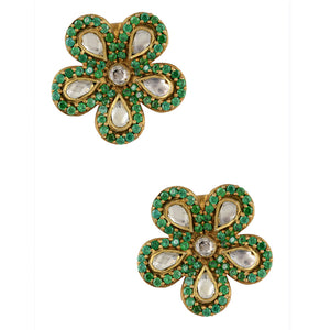 """Monika"" Green Flowers Earrings"