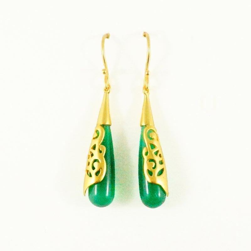 Olivia Earrings - Green Onyx