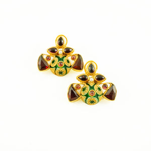 Elena Earrings - Red & Green