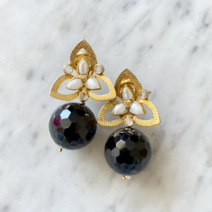 """Twiggy"" Black Onyx Earrings"