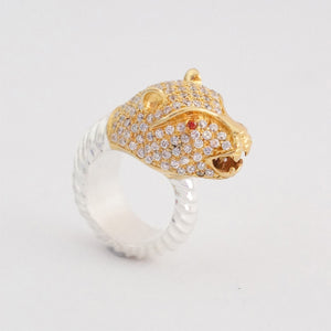 """Cheetah"" Cocktail Ring - Colourless Zircon"