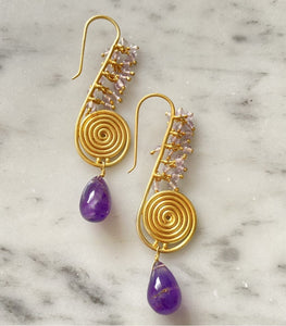 """Trumpet"" Amethyst Earrings"