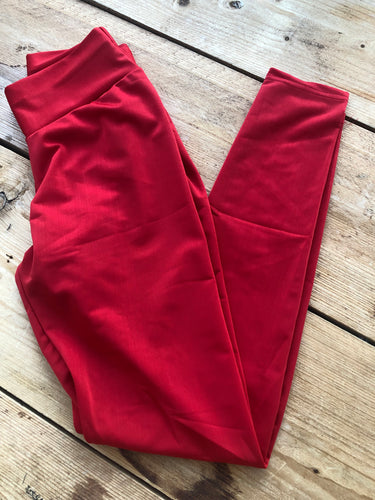 ATHENA Red High-Waisted Leggings