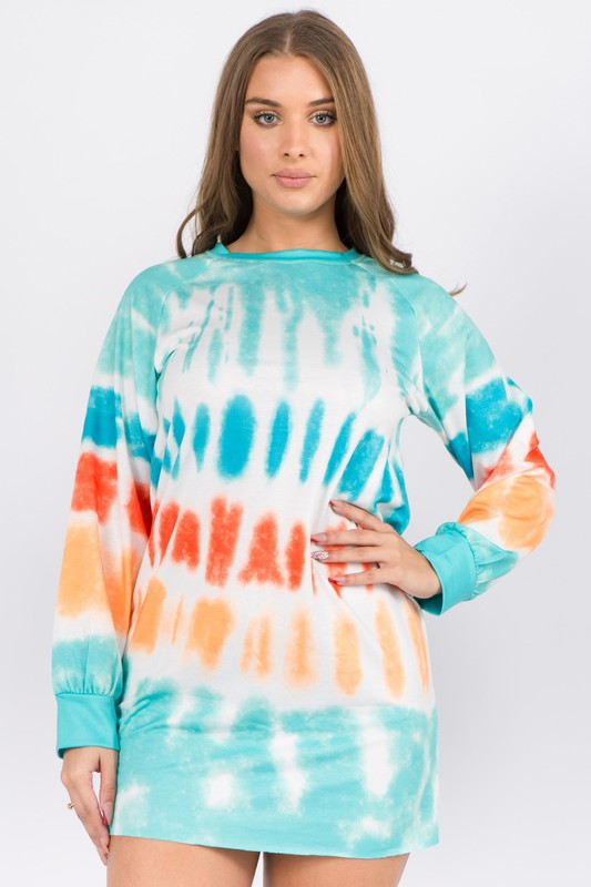 Tie Dye Long Sleeve Mini Dress