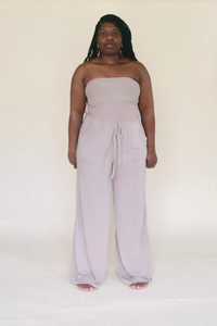 Ash Mocha Smocked Tube Top Jumpsuit With Pockets