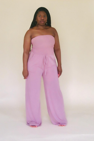 Light Rose Smocked Tube Top Jumpsuit With Pockets