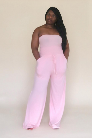 Dusty Pink Smocked Tube Top Jumpsuit With Pockets