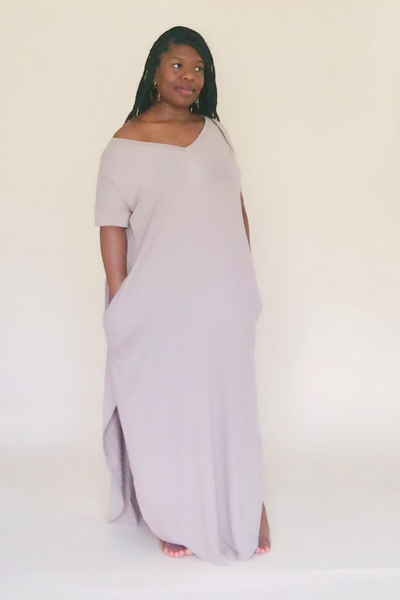 Mocha Short Sleeve Maxi Dress